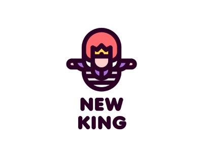 New King Logo 196 branding brand illustration logotype logo outline line win leader winner man legend myth fairy tale middle ages coronation crown victory ladder king