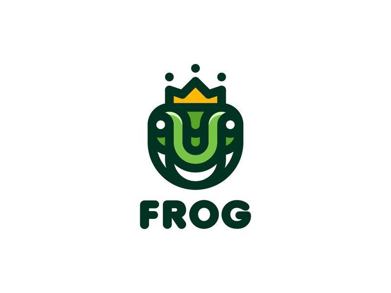 Frog Logo lastspark label mark branding brand illustration logotype logo outline line magic legend myth fairy tale king crown princess prince frog