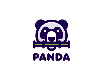 Panda Logo lastspark label mark branding brand illustration logotype logo outline line nature food bamboo head animal panda