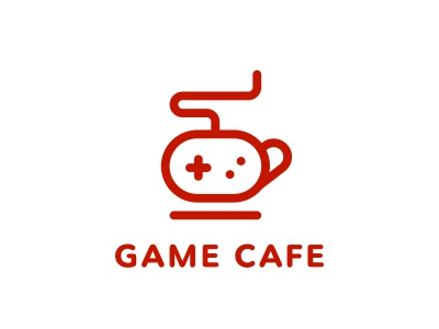 Game Cafe clean game cafe coffee gamepad cup logo logotype line