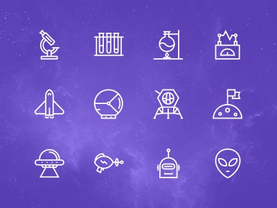 The Space, Science & Astrology Icons 100 apollo 11 robot blaster rocket generator test-tubes microscope science space line icons icon