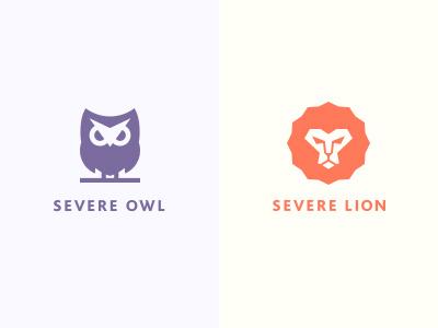 Severe Owl / Severe Lion clean brand logotype logo owl leon severe