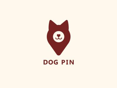 Dog Pin clean logotype logo location map point pin dog