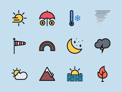 The Weather & Insurance Icons 100 iconfinder graphicriver creativemarket outline icons colored icons outline icon icons insurance weather
