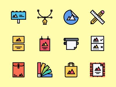 The Branding & Design Icons 100 brand print design branding icons icon outline colored icons outline icons creativemarket graphicriver iconfinder