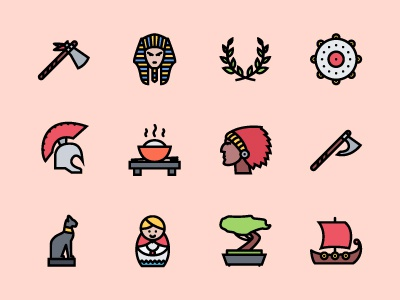 The Culture Icons 100 history culture icons icon outline colored icons outline icons creativemarket graphicriver iconfinder