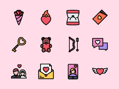 The Love Icons 100 lovers newlyweds wedding valentine valentines day love icons colored icons outline icons creativemarket graphicriver iconfinder