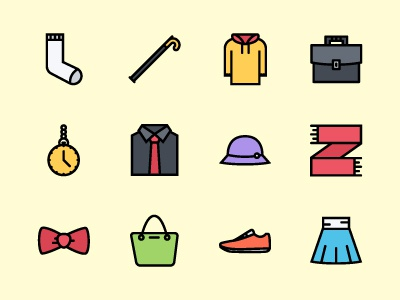 The Clothes Icons 200 hat footwear accessories clothes iconfinder graphicriver creativemarket outline icons colored icons icons