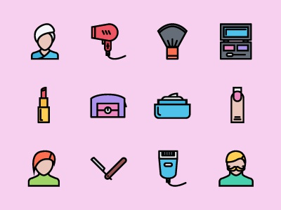 The Beauty Icons 100 hygiene cosmetics hairstyle beauty icons icon outline colored icons outline icons creativemarket graphicriver iconfinder