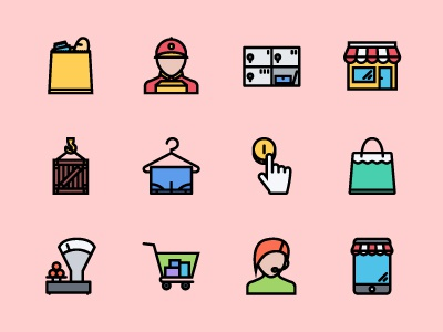 The Shop Icons 100 e-commerce shopping shop icons icon outline creativemarket graphicriver iconfinder