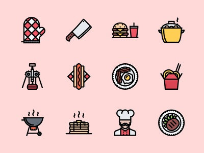 The Kitchen Icons 100 kitchen cafe food icons icon outline creativemarket graphicriver iconfinder