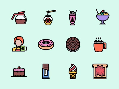 The Cafe Icons 100 sweets cafe food icons icon outline creativemarket graphicriver iconfinder