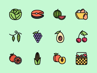 The Food Icons 100 fruits vegetables food icons icon outline creativemarket graphicriver iconfinder