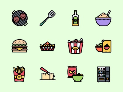 The Food   Drinks Icons 100 iconfinder graphicriver creativemarket outline icon icons food grill fast food