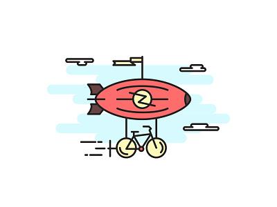 Sky Dream clean logo cloud creative dream bike zeppelin airship sky