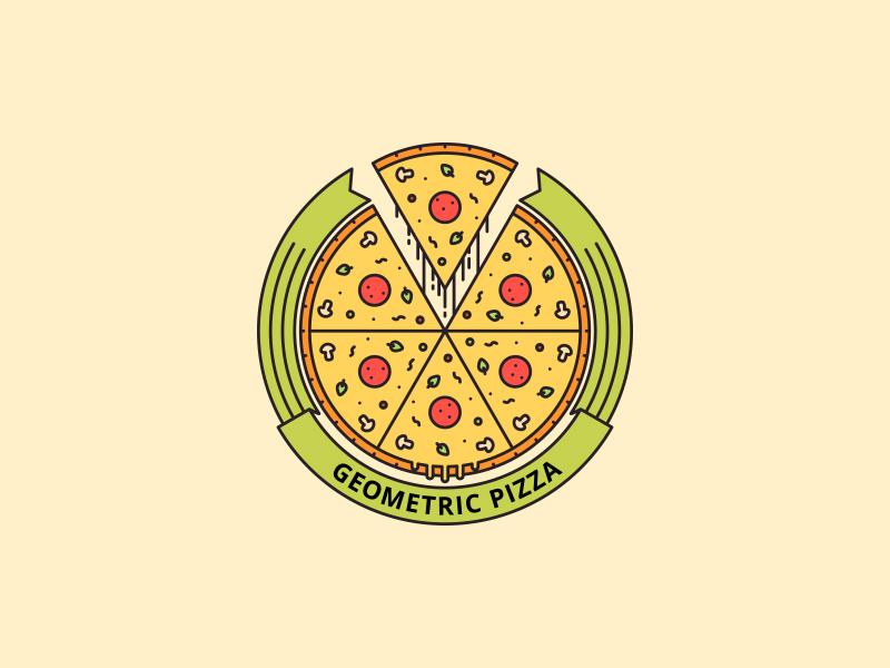 Geometric Pizza clean logo pizzeria party eat restaurant italian pizza fast food food