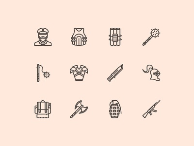 The War Icons 100 weapon war icons icon outline creativemarket graphicriver iconfinder