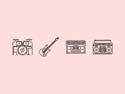 The Music Outline Icons icons set outline graphicriver iconfinder creativemarket song band instrument music