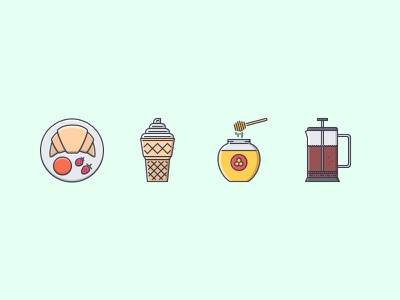 The Cafe Filled Outline Icons 25 filled outline iconfinder outline set icons icon honey french press ice cream croissant