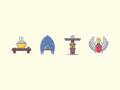 The Culture Filled Outline Icons 25 russia egypt scarab totem pole kokoshnik rice icon icons set outline iconfinder filled outline