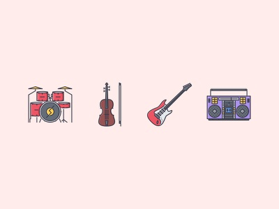 The Music Filled Outline Icons 25 drum set music boombox violin electric guitar filled outline iconfinder outline set icons con