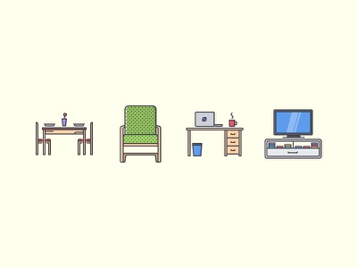 The Furniture Filled Outline Icons 25 tv cup laptop desk chair icons set outline iconfinder filled outline