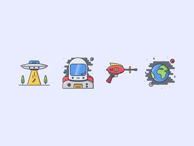 The Space Filled Outline Icons 25 ufo space alien blaster cosmonaut earth icons set outline iconfinder filled outline