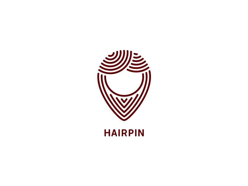 Hair Pin clean logotype logo beauty style salon hairdressing head hair map location pin