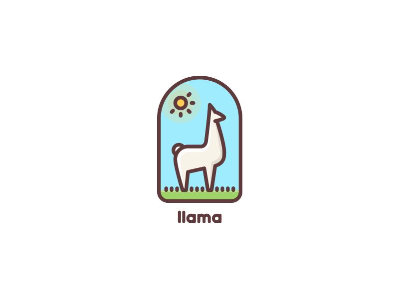 llama clean logotype logo nature meadow sky sun wool grass field lama llama