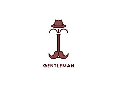 Gentleman Logo - Day 19 clean logo service man mustache hat clothes hanger gentleman rack coat