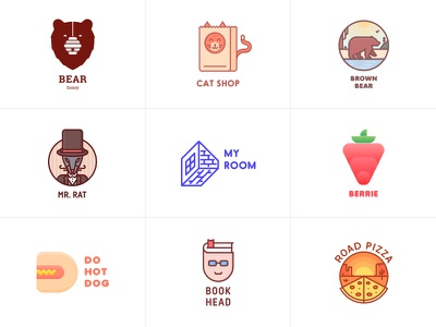 Best. One day. One logo. Month 1 outline clean logos logo pizza book hot dog berrie room rat cat bear