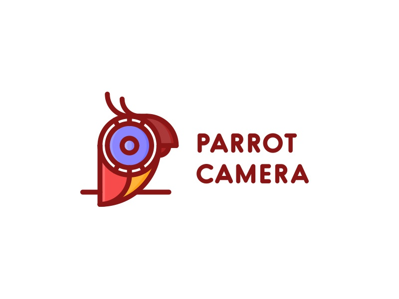 Parrot Camera Logo - Day 36 clean last spark logo outline mascot bird nature blog video camera parrot travel