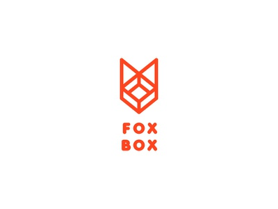 Fox Box Logo - Day 90 real estate shop store location move transportations head mascot courier outline line logo one day one logo last spark animal moving relocation delivery box fox