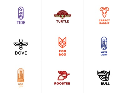 Best. One day. One logo. Month 3 light wave turtles dove bull rooster field light box fox lighthouse rabbit logoground sell buy brand logos logo one day one logo last spark best