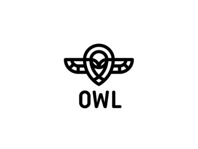 Owl Logo - Day 97 guard bold strong security night shield last spark one day one logo logos mascot logos hunt mascot travel location pin flight fly wing bird owl