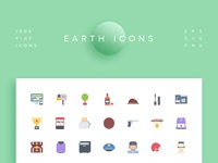 Earth Icons. Flat Style. 1 000