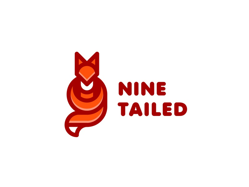 Nine-Tailed Fox kitsune forest travel camp camping branding brand lastspark logos logo mascot letter numeral nature animal 9 tail fox tailed nine