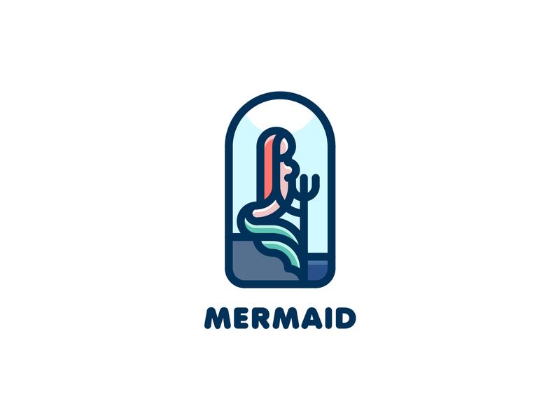 Mermaid Logo mark colored outline illustration brand logo legend fairy tale myth water trident rock woman tail sea ocean hair fish siren mermaid
