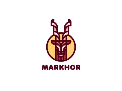 Markhor Logo mark strong label mart logotype logo illustration branding brand nature head horn animal ram sheep mountain goat markhor