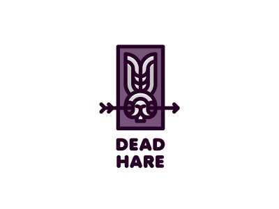 Dead Hare Logo logotype logo outline line hunt hunter hunting nature animal killing bow arrow dead death skull eyes ears head rabbit hare