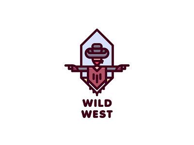 Wild West Logo lastspark label mark branding brand illustration logotype logo outline line sky cowboy poncho bandana revolver gun desert wild west bandit