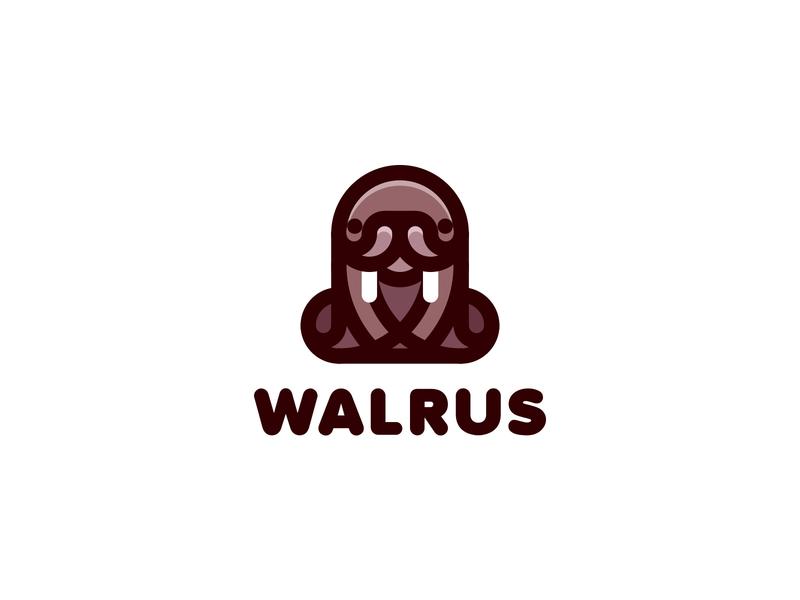 Walrus Logo lastspark label mark branding brand illustration logotype logo outline line fangs ocean sea animal fur seal sea cow sea horse walrus