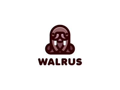 Walrus Logo lastspark label mark branding brand illustration logotype logo outline line fangs ocean sea animal fur seal sea cow sea horse walrus
