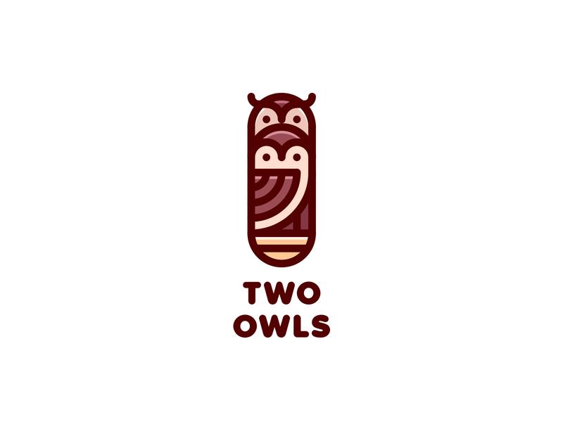 Two Owls Logo lastspark label mark branding brand illustration logotype logo outline line nature animal eagle owl nest family bird tree hollow owl