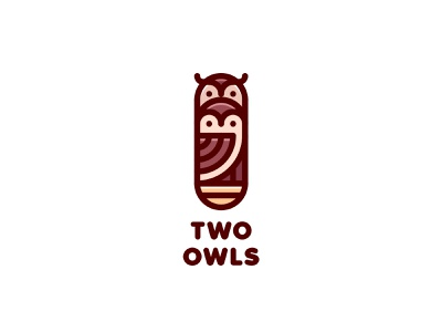 Two Owls Logo lastspark label mark branding brand illustration logotype logo outline line nature animal eagle owl nest family bird tree hollow owl