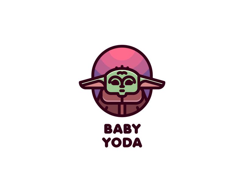 Baby Yoda Logo mark branding brand illustration logotype logo outline line light sky planet alien space star wars mandalorian kid child baby yoda yoda baby