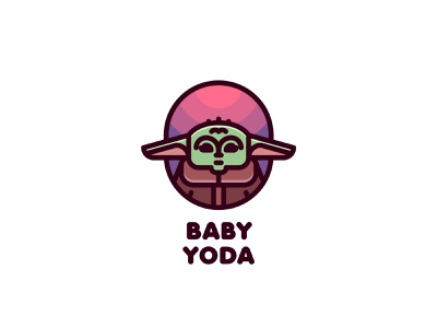 Baby Yoda Logo mark branding brand illustration logotype logo outline line light sky planet alien space star wars mandalorian kid child baby yoda yoda baby