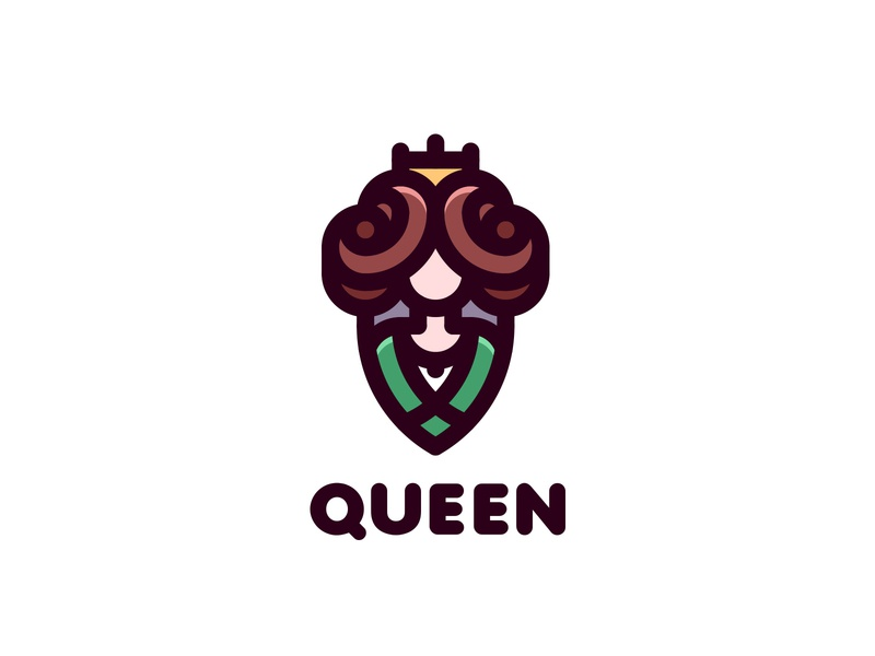 Queen Logo lastspark label mark branding brand illustration logotype logo outline line monarch style hairstyle lady medieval crown dress queen woman