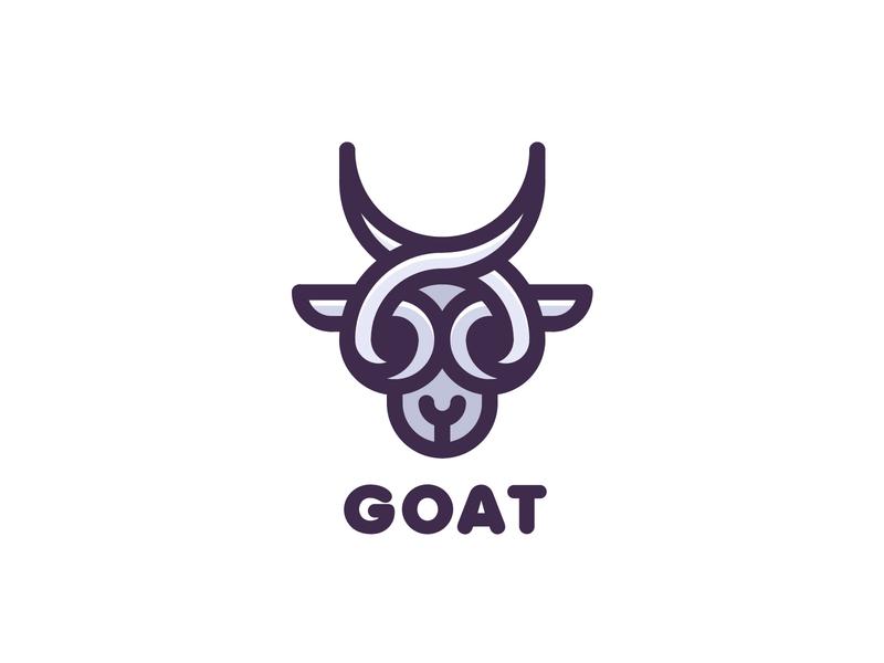 Goat Logo lastspark label mark branding brand illustration logotype logo outline line head horns horn animal ram goat