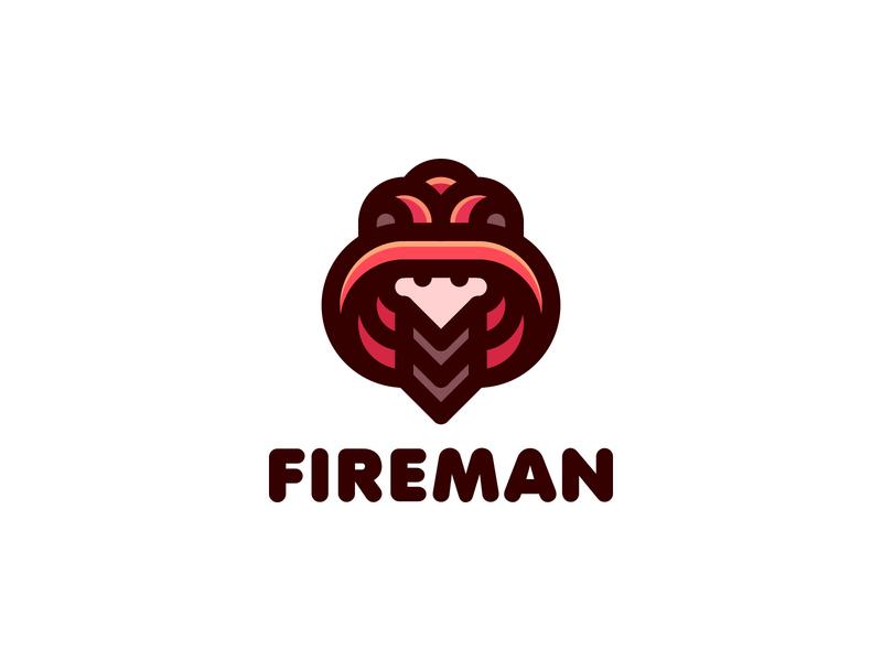 Fireman Logo lastspark label mark branding brand illustration logotype logo outline line profession head face man uniform helmet fire fireman firefighter